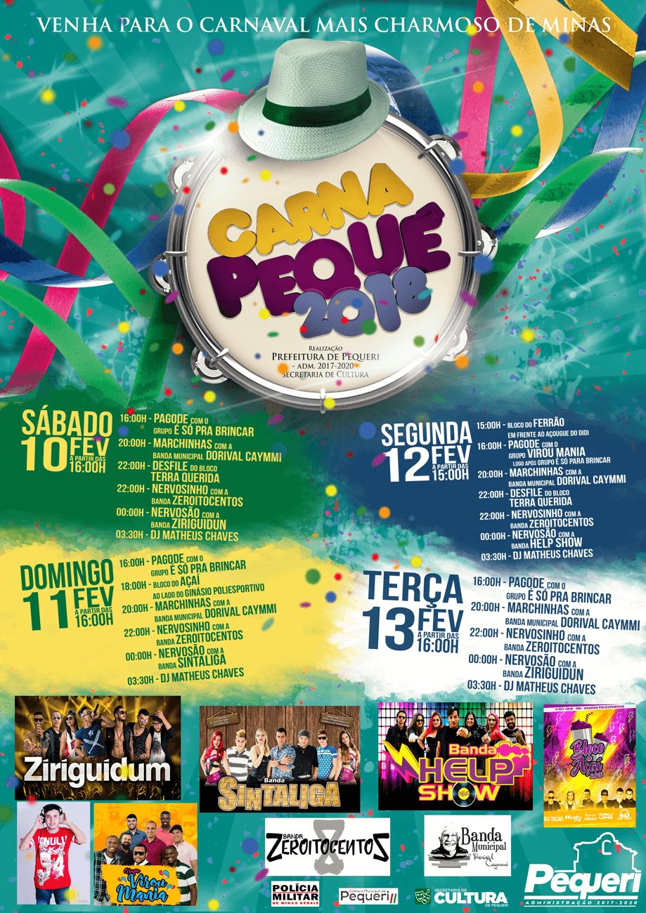 Programação do Carnaval de Pequeri 2018